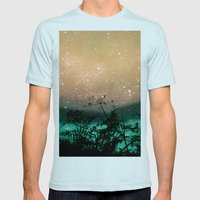 Night Sky Flowers Mens Fitted Tee Light Blue SMALL