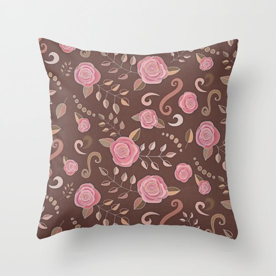 Coffee Roses - vintage rose pattern in pink and brown Throw Pillow
