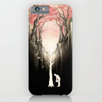 iPhone Cases featuring Revenge of the nature II: growing red forest above the city. by Rafapasta
