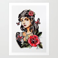 Girl With Butterflies - … Art Print