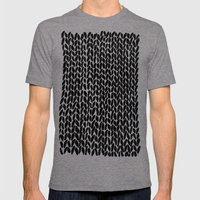 Hand Knitted Black S Mens Fitted Tee Tri-Grey SMALL