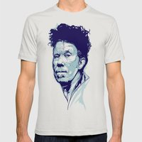 Tom Waits Portrait Mens Fitted Tee Silver SMALL