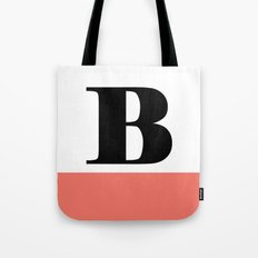 Monogram Letter B-Pantone-Peach Echo Tote Bag