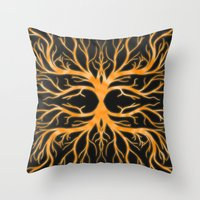 Ghostly Vines (Flaming Orange Ghost) Throw Pillow
