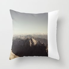 Zugspitze Mountain Germany Black and White Photography Throw Pillow