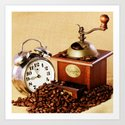 Coffee grinder with coffee beans and clock Art Print