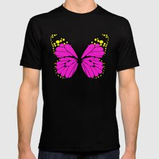 Pink Butterfly Mens Fitted Tee Black SMALL