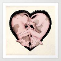 Snuggliphinx  Art Print