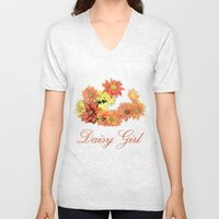 daisy girl. orange, yellow daisy flowers photo art.  Unisex V-Neck