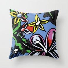 tropical flowers blue Throw Pillow