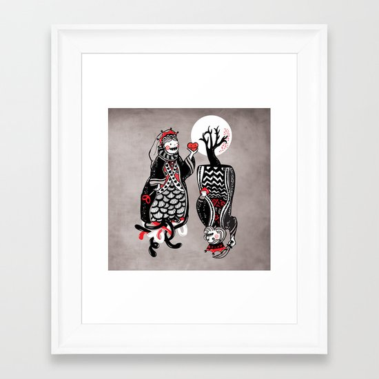 Queen and King of Hearts Framed Art Print