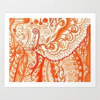 Orange Brushstroke Art Print