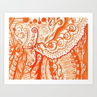 orange brushstroke Art Print