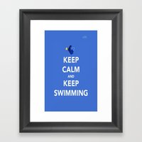 Keep Calm And Keep Swimming Framed Art Print