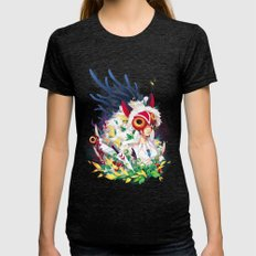 Princess Mononoke Womens Fitted Tee Tri-Black SMALL