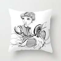 Woman On Bird Throw Pillow