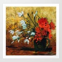 Red Flowers In Green Vas… Art Print