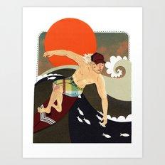 Sexy surfer Art Print