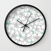 Cherry Blossom With Mint… Wall Clock