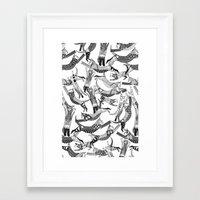 cat party black white Framed Art Print