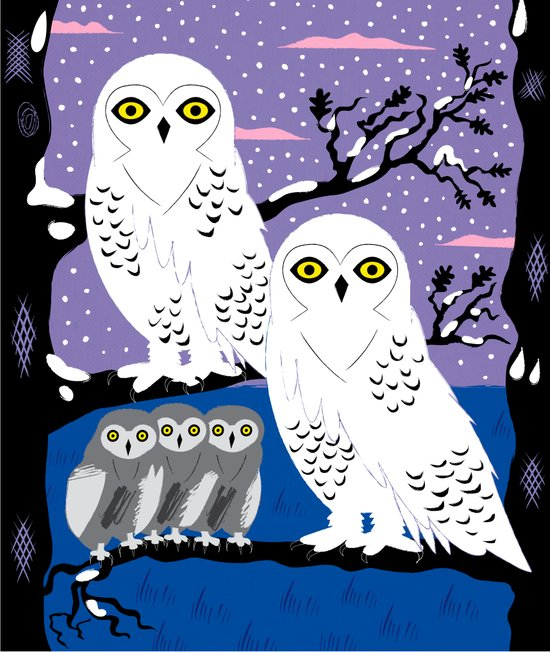 Snowy Owls and Offspring Art Print