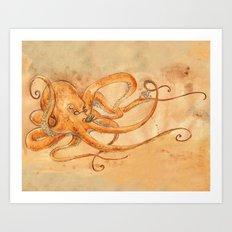 Octopus Drinking Tea Art Print
