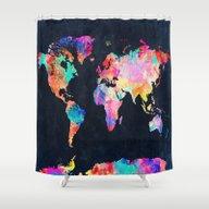 Shower Curtain featuring World Map by Bekim ART
