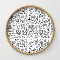 Triangle doodles Wall Clock