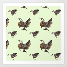 Green Hummingbirds Art Print