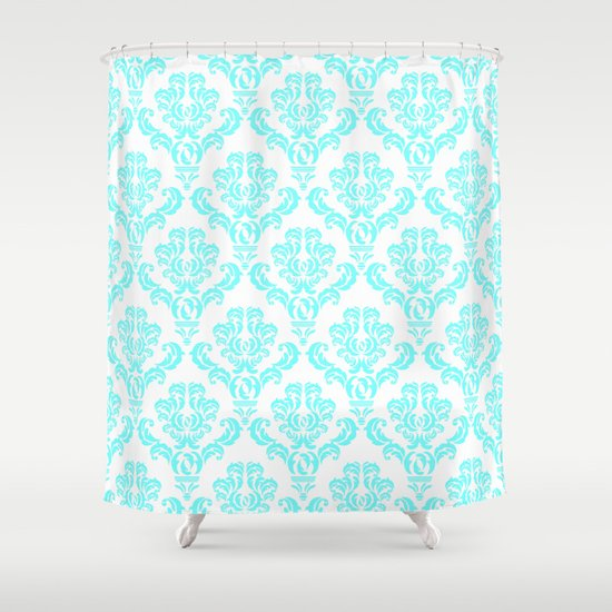 damask aqua blue shower curtain by but first coffee society6