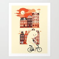 Happy Ghost Biking Throu… Art Print
