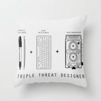 Triple Threat Designer Throw Pillow