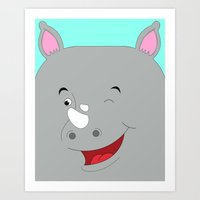 Rhino Male In Love Looki… Art Print