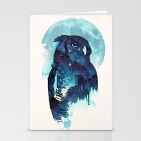 owls Stationery Cards featuring Midnight Owl by Robert Farkas