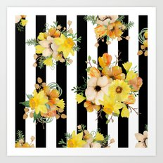 Yellow Vintage Floral On… Art Print