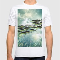 Fish Shoal Mens Fitted Tee Ash Grey LARGE