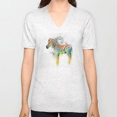 Drippy Jazzy Zebra by Jai Johnson Unisex V-Neck