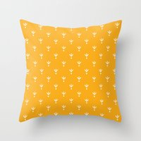 Doodle Leaves Throw Pillow