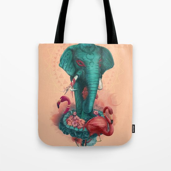 Elephant on the mat Tote Bag