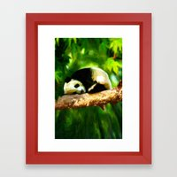 Baby Panda Resting - Painting Style Framed Art Print