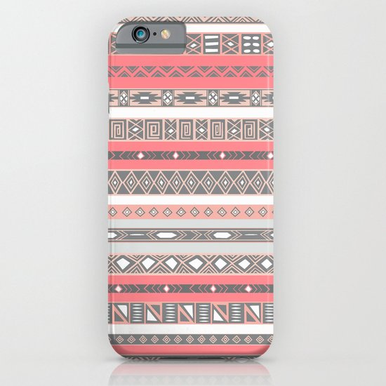 Aztec Print Peach Rose Salmon Grey iPhone & iPod Case