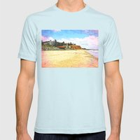 A day with the gulls at the beach Mens Fitted Tee Light Blue SMALL