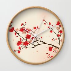 Oriental style painting, plum blossom in spring Wall Clock