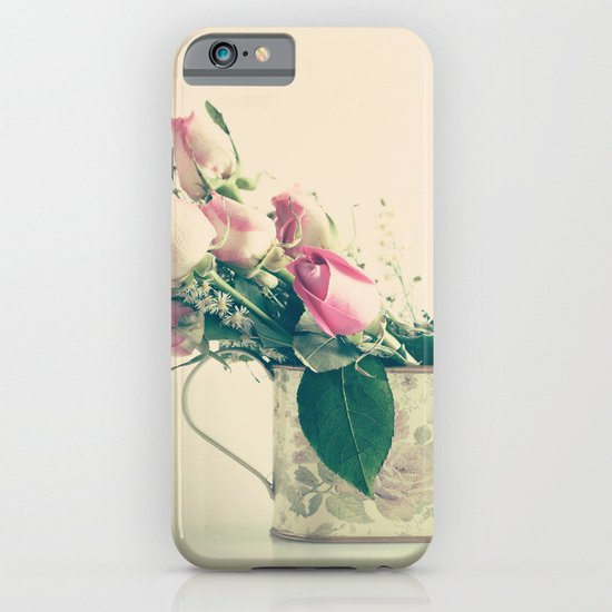 Shabby Chic Roses - Retro Vintage Pink Floral Photography on beige background iPhone & iPod Case