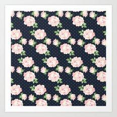 Blue and Pink Vintage Rose Pattern Art Print