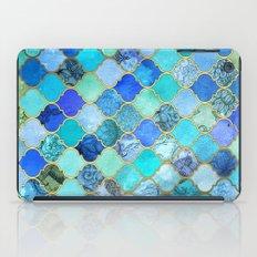 Cobalt Blue, Aqua & Gold Decorative Moroccan Tile Pattern iPad Case
