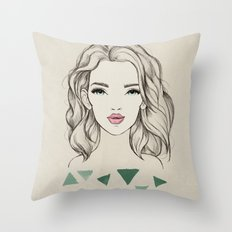 Green girl Throw Pillow