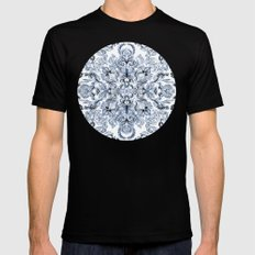 Indigo, Navy Blue and White Calligraphy Doodle Pattern SMALL Mens Fitted Tee Black
