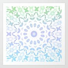 Ombre Mandala Blue Green Art Print