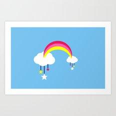 Cloudy Rainbows - Blue Art Print